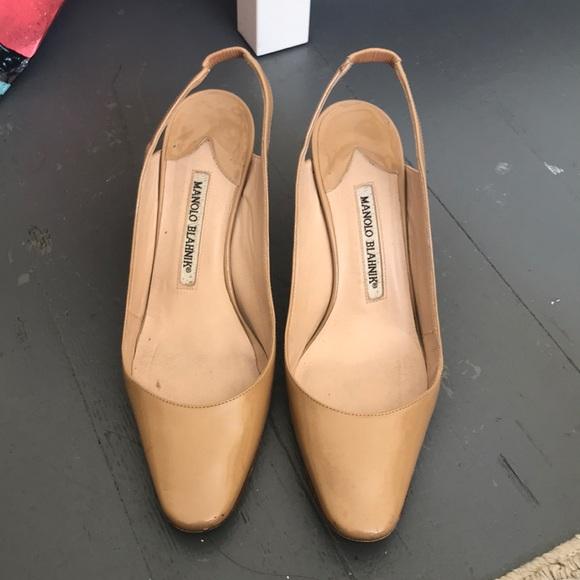 aa6519f657c78 Manolo Blahnik Shoes | Allurasa Nude Patent Slingbacks | Poshmark